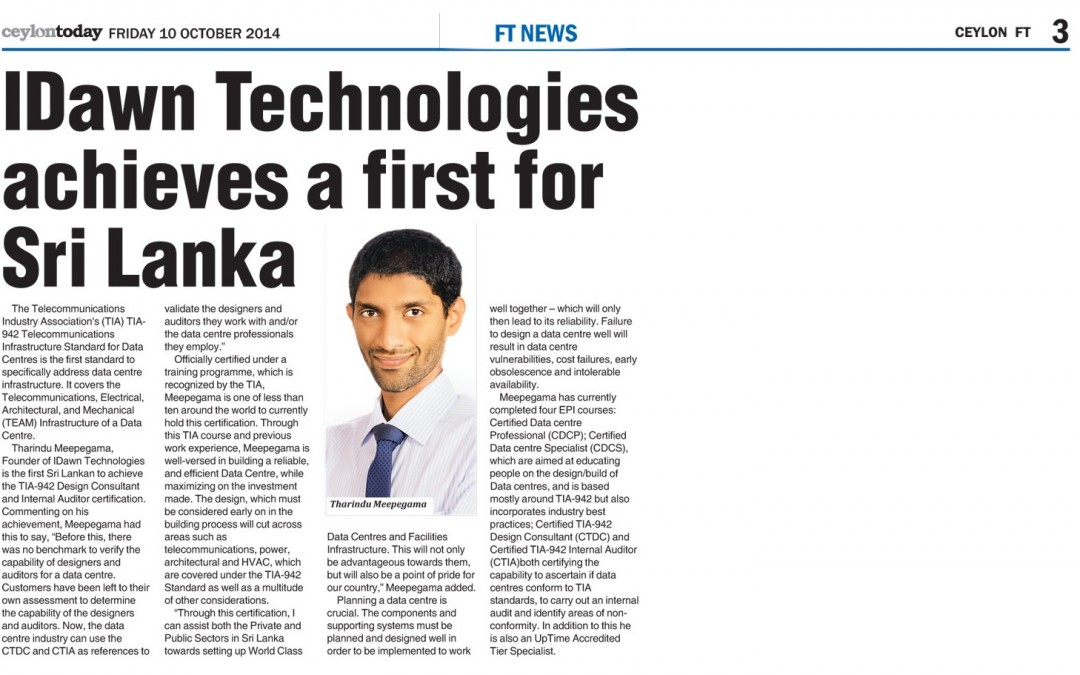 IDawn Technologies Achieves a First for Sri Lanka