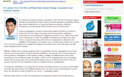 Sri Lanka's first TIA-942 certified Data Center Design Consultant and Internal Auditor